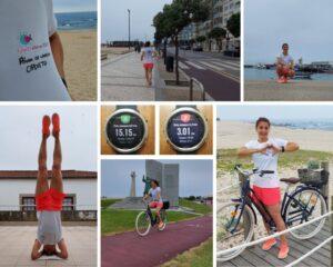 run, cycle and sirsasana (yoga pose)